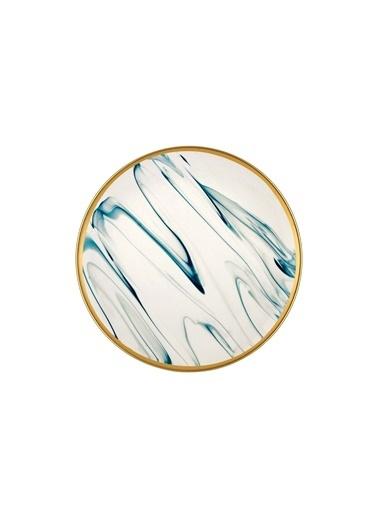 The Mia Lucid Pasta Tabağı 6 Parça Cam Göbeği Mavi